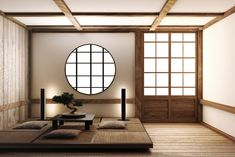 Modern Japanese Interior, Japanese Home Design, Japanese Style House, Japanese Interior Design, Japanese Home Decor, Japanese Living Rooms, Japanese Style Bedroom, Japanese Wall, Japanese Style Living Room Ideas