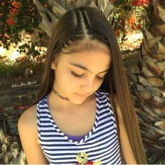 ⚓ 2 Cornrows ⚓️ Today She wants ⚓️ her hair down ⚓️ You can NEVER go wrong wit' adding cornrows. Lil Girl Hairstyles, Down Hairstyles, Braided Hairstyles, Toddler Hairstyles, Short Haircuts, Curly Hair Styles, Natural Hair Styles, Girl Hair Dos, Love Hair