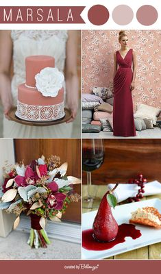Marsala weddings inspiration for 2015 weddings. See the full post: http://www.bellenza.com/wedding-ideas/decorate/marsala-inspiration-for-weddings-is-it-right-for-you.html