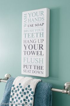 bathroom decoration items how to update a bathroom. This super cute sign from HomeGoods {sponsored} placed above the towel rack adds character and charm to the bathroom. Bathroom Signs, Bathroom Ideas, Bathroom Updates, Design Bathroom, Bathroom Organization, Bathroom Storage, Walk In Shower Designs, Cute Signs, Bathroom Renovations