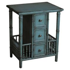 """Display cherished family photos or a bouquet of fresh blooms with this 3-drawer end table, showcasing a fence-like embellishment and distressed finish.    Product: End tableConstruction Material: WoodColor: BlueFeatures: Three drawers Dimensions: 24"""" H x 20"""" W x 15"""" D"""