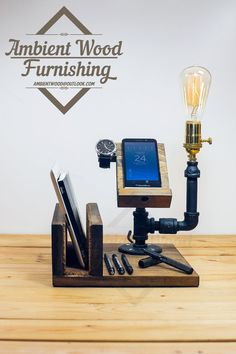 Industrial Pipe Lamp With IPad support and Apple door AmbientWood