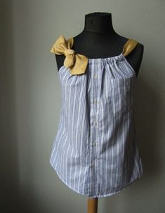 """Sew Men Clothes The Best tutorials for """"How to UPCYCLE men's SHIRTS"""" - Upcycled Dress Shirt - This upcycled dress shirt is a fantastic idea. You can take any unused dress shirt and necktie and create a fabulous new tank top. Read on for the tutorial. Sewing Dress, Sewing Clothes, Men Clothes, Remake Clothes, Sewing Men, Shirt Diy, Shirt Dress Diy, Diy Clothes Refashion, Upcycle Shirts"""