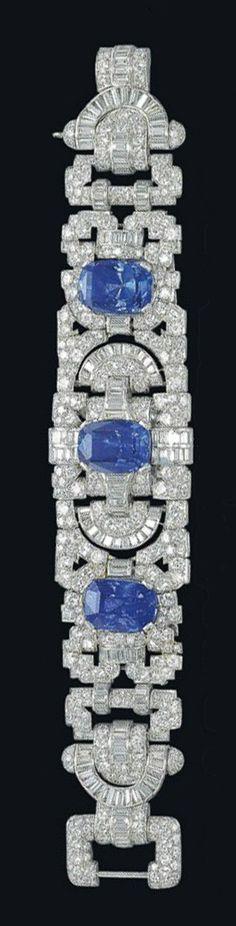 1930 diamond & sapphire bracelet