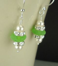 Sea Glass Earrings Sterling Silver Lime Green by seaglassgems4you, $40.00
