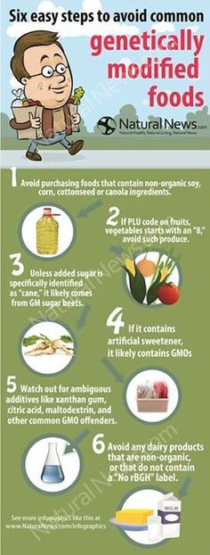 Here is a handy chart with six key steps to avoid purchasing genetically modified foods.  Animal testing with GMOs has shown severe organ damage. To see the most common GMO foods and which foods are safest to eat, visit this page: http://www.nutritionbreakthroughs.com/blog/2014/08/28/six-key-steps-to-avoid-gmo-foods/