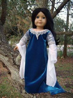 OOAK-Arwen-Lord-of-the-Rings-Custom-American-Girl-Doll-Dress-Evenstar-Necklace