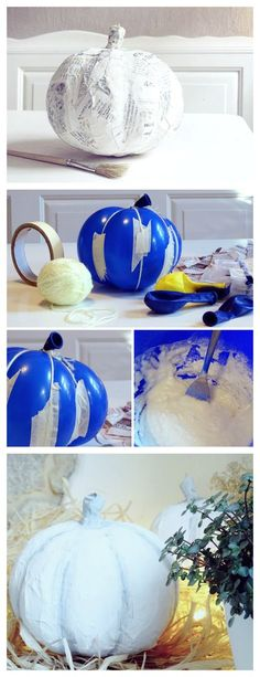Balloon papier-mâché pumpkin. Great alternative to the expensive craft store pumpkins! Ich stehe ja total auf simple Herbstdeko mit weißen Kürbissen. Leider bekommt…