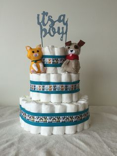 For cat and dog lovers. Diaper cake.