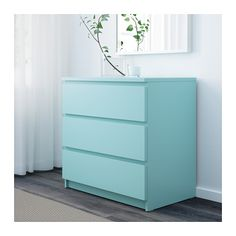 Malm Commode 3 Tiroirs Turquoise Clair