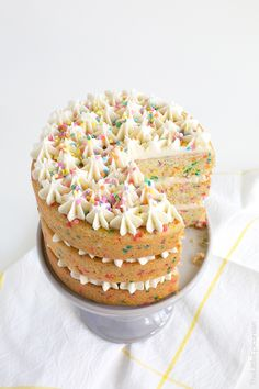Coconut Confetti Cake with Coconut Buttercream- The Little Epicurean Cupcakes, Cupcake Cakes, Easy Desserts, Delicious Desserts, Cake Recipes, Dessert Recipes, Biscuits, Confetti Cake, Eat Dessert First