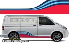 VW Transporter Martini printed racing stripes, will fit & T4 Transporter, Volkswagen Transporter, Van Organization, Vw Caravelle, Martini Racing, Racing Stripes, Vw T, Vw Camper, T5