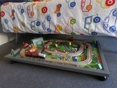 under bed train table. Remember to buy ikea train mat