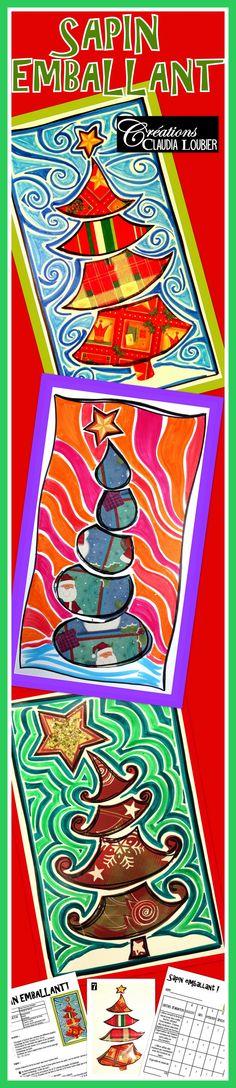 Voici une façon originale de faire une oeuvre de Noël avec vos élèves. Ce projet est idéal pour réaliser une carte. Vous aurez besoin de matériel simple comme du feutre permanent, du feutre de couleur ordinaire et du papier emballage de Noël. Comme dans tous mes projets, la démarche, les photos explicatives et la grille d'évaluation sont comprises dans le document. Pour favoriser la diversité dans les réalisations, 6 exemples de sapin sont en annexe. Arts plastiques. Christmas Activities, Christmas Crafts For Kids, Christmas Projects, Kids Christmas, Christmas Decorations, Classroom Projects, School Art Projects, Art School, Theme Noel