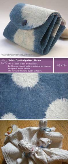 Wallet, Indigo Blue, Japanese Shibori, Hand Dyed, Indigo, Blue, Shibori Pattern…