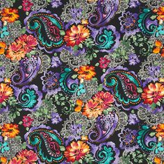 Timeless Treasures Indian Summer Black Flowers and Paisley