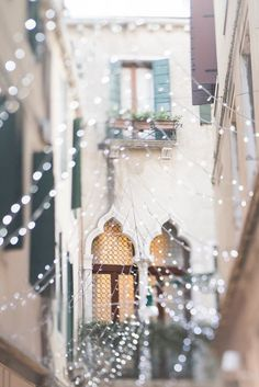 Venice Photography Gothic Window with Fairy Lights