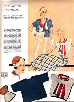 Red, white and blue in a charming knitted outfit (1933).