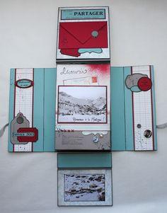 """Un mini fait d'après celui de Scrapucine """"Toutes ces photographies que j'aime""""le 26-09-2012 Mini Album Scrap, Mini Scrapbook Albums, Scrapbook Cards, Diy Album Photo, Diy Box, Book Making, Bookbinding, Mini Books, Book Art"""