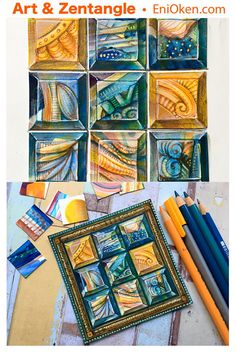 Blue, yellow and orange Inchie Mosaic. Doodles Zentangles, Zentangle Patterns, Tangle Doodle, Doodle Sketch, Doodle Drawings, Pencil Drawing Tutorials, Pencil Drawings, Drawing Ideas, Sharpie Artwork