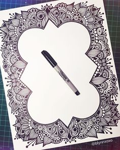 "2,360 Likes, 40 Comments - Brita Lynn • Zenspire Designs (@zenspiredesigns) on Instagram: ""border is finished, haven't decided about what I'm putting in the middle yet! #wip #zentangle…"""