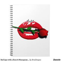 Red Lips with a Rose & Monogram  Notebook  http://www.zazzle.com/artzdizigns?rf=238365382999242687* #lips #rose #backtoschool #schoolsupplies #notebook #zazzle