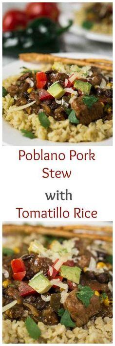 poblano pork stew over tomatillo rice poblano pork stew over tomatillo ...