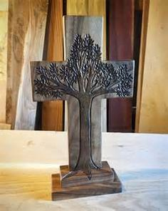 Standing Tree of Life in Walnut with Trinity Roots ...