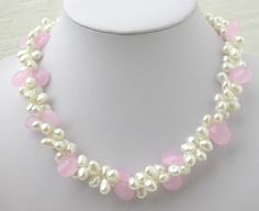 XaXe.com - White FW Cultured Pearl & Pink Crystal Necklace