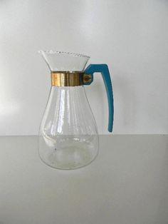 vintage aqua handle carafe by snugsnuggery on Etsy