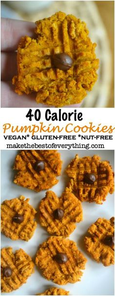 40 Calorie Pumpkin Cookies! Gluten-Free, Nut-Free, Dairy-Free, Oil-Free and Vegan. They taste so good!