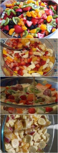 INGREDIENTES: 1/2 lata de leite condensado 1/2 lata de creme de leite 8 morangos 2 maçãs 5 bananas 4 laranjas 1/2 mamão papaia 2 colheres de suco de limão MODO DE PREPARO: Lave bem cada fruta e corte-as em tamanho pequeno. DICA: Escolha frutas não muito maduras, para não se desmancharem. Coloque dentro de um…