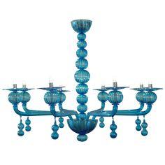 1stdibs | Aquamarine Murano Glass Chandelier by Barbini