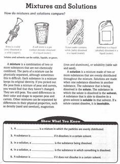 Foss Mixtures And Solutions Worksheets: Mixtures and Solutions   great investigation ideas and sorts,