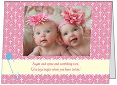 They'll double their pleasure and surely their fun when two adorable baby girls come into their lives.  If your planning a shower for the happy mommy or both parents here is a can't miss invitation your guests will surely comment on.  See it and many others at www.irishihadthat.com.