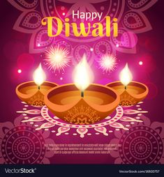 Diwali realistic vector image on VectorStock Happy Diwali 2017, Happy Diwali Wallpapers, Happy Diwali Images, Diwali Festival Of Lights, Diwali Lights, Diwali Greeting Cards, Diwali Greetings, Diwali Sale, Diwali Diya