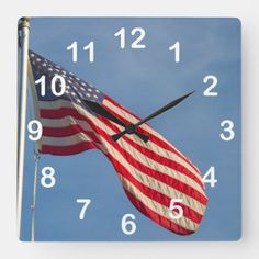American Flag Blue Sky Photography Square Wall Clock july 4th ideas, 4th of july party appetizers, july 4th 1776 #4thofJulycookies #4thofjulywedding #4thofjulyaccessories, dried orange slices, yule decorations, scandinavian christmas