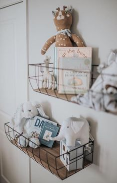Black Wire Metal Wall Basket Set Love these storage shelves Baby Bedroom, Baby Boy Rooms, Baby Boy Nurseries, Baby Room Decor, Nursery Room, Girl Nursery, Unisex Baby Room, Babies Nursery, Room Baby