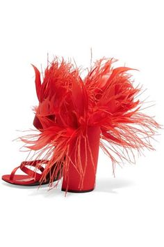 Prada - Feather-trimmed Satin Sandals - Red