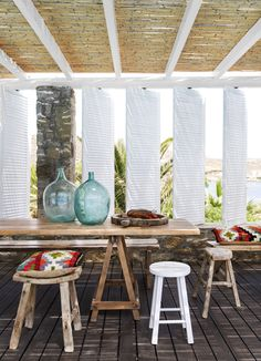 Choose simple or reclaimed wooden stools for that trendy rustic look.