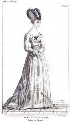 Jeanne de Bourbon Reine de France. Middle ages costume history. 14th century fashion.