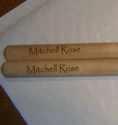 Personalized laser engraved 2B drumsticks w Priority Shipping
