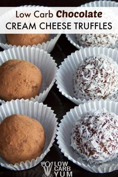 This chocolate cream cheese truffles recipe is easy to prepare. And, the low carb fudge candy looks fabulous. Coat them in cocoa, chopped nuts, or coconut. | LowCarbYum.com via @lowcarbyum