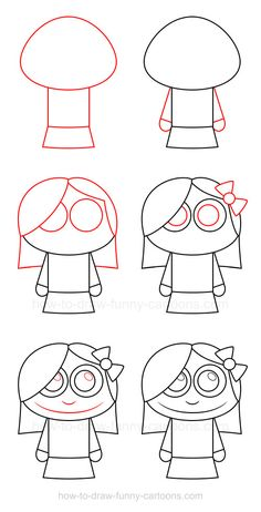 Only a few simple steps are needed to learn how to draw a girl made from a cute design and basic shapes!