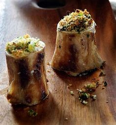 Roasted Bone Marrow - substitute the bread crumbs with pecans maybe?