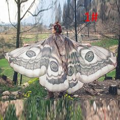 Moth wings Butterfly Fairy cape cloak brown and white isis wings costume adult bridal fairy handfasting alles für Ihren Stil - www. Butterfly Scarf, Butterfly Fairy, Butterfly Wings, Butterfly Costume, Butterfly Fashion, Monarch Butterfly, Butterfly Halloween, Giant Butterfly, Fabric Butterfly