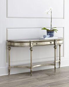 Harmony Console Table, Silver/Mirror - Neiman Marcus