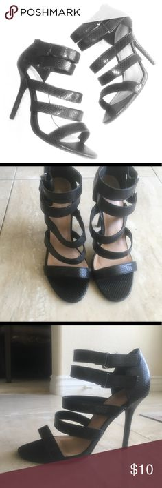 Strappy black heels sz 8 Black strappy heels with Velcro clasps Size 8 Wild  Diva Shoes