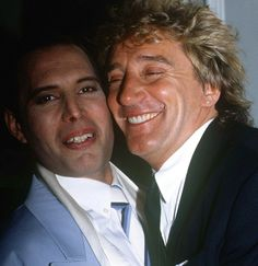 "Freddie Mercury and Rod Stewart together, after the '20th Anniversary of The Queen' at the ""11th Brit Awards"", in the 'Groucho Club' in Soho, London (the last public appearance of Freddie), on February 18, (1990) - photo © by R. Young."