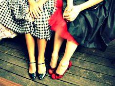 1950s fashion shoot , <3 shoes. Cute idea to show fabric details.